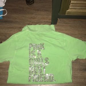 PINK destroyed polo with rhinestones
